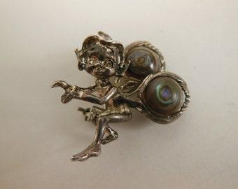 vintage brooch / Fantasy Fairy Find Vintage Cyvra Pixie Brooch Sterling