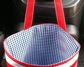 Beth's Red Stripe Oilcloth Car Trash Bag with Ribbon Tie