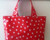 Beth's Small  Red Polka  Dot Oilcloth Market Tote Bag