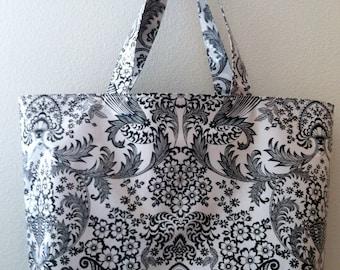 Beth's Big Black Paradise Oilcloth Market Tote Bag