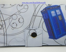 Handmade vegan dr who Long fandom geek Wallet  BiFold Clutch - Doctor Who's Tossed Tardis and Gallifreyan symbols