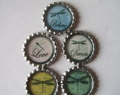 Dragonfly Flattened Bottle Cap Magnets Set of 5