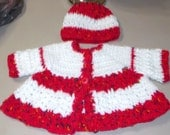 handmade Crocheted baby Red White Sweater baby girl red jacket and hat  03-06 mo new