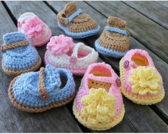 Download Now - CROCHET PATTERN Boy & Girl Baby Shoes - 0-12 mos - Pattern PDF