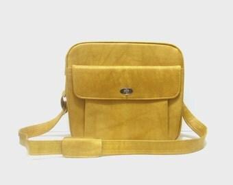1970s travel bag / vintage 70s luggage / Samsonite / Mustard Yellow Travel Bag