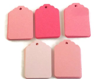 Funky Tags  Paper Gift Tags Price Tags in Pink Pop  Set of 50