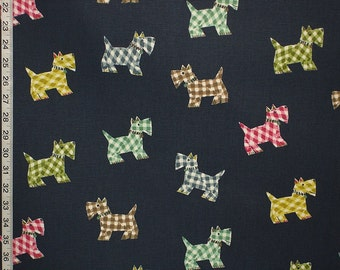 Scottie dog fabric Scottish Terrier navy blue plaid interior home decorating material cotton BTY 1 yard