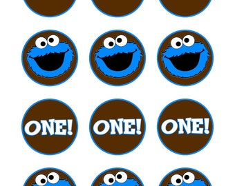 Cookie Monster Sticker or Cupcake Topper, Printable File 2 inch circle