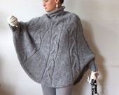 Hand knitted poncho  braided cape sweater,fall fashion cabled poncho, avant garde traffic stoper,hotest fall trend, gray melange sweater