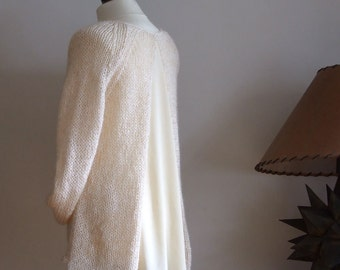Honey cream tunic sweater, hand knitted high low tunic, summer sweater, A line tunic with silky flowing back, winter wedding knitted tunic