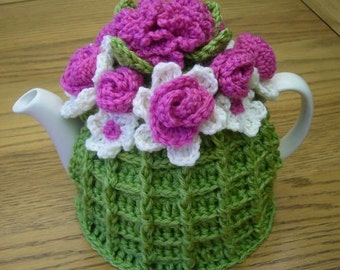 Pattern for Crochet Flower Basket Tea Cosy  (Instant Download)