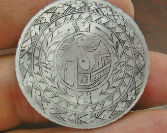 Antique Asian Mother of Pearl GAMING Piece, GAMBLING CHIP, Counter, Hand Engraved, 31mm, Number 10, wonderful condition