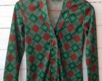 Vintage 70s Green Plaid Cardigan