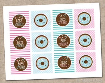 Printable Cupcake Toppers Gender Neutral Pink & Blue Baby Sprinkle Shower - INSTANT DOWNLOAD