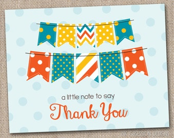 Printable Thank You Card Design - Blue Orange and Yellow Bunting and Polka Dots