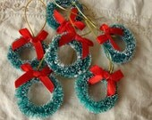 """Bottle brush wreaths 1"""" 1/4 flocked christmas craft supplies vintage style supplies mini wreaths holiday crafting christmas millinery"""