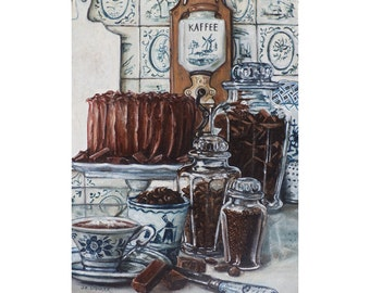 Still Life with Chocolate Cake, Chunk Chocolate, Chocolate Chips, Chocolate Jimmies, Hot Chocolate, Blue and White, Delft Porcelain
