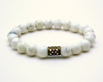 White Turquoise Modern Beaded Bracelet Magnesite Stretch Bracelet Mothers Day Under 40