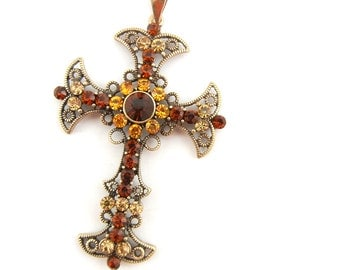 Large Antique Gold-tone Filigree Cross Pendant Topaz Rhinestones