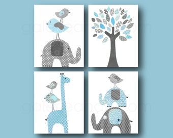Blue and gray  Elephant Nursery giraffe nursery wall art kids room baby nursery children art tree nursery Set of four prints GalerieAnais