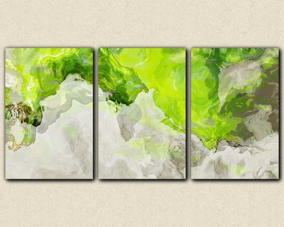 Triptych Abstract Giclee Canvas Print With Gallery Wrap 24x48