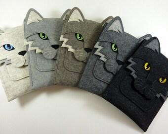 Cat iPad mini 1, 2, 3, 4 felt case // Handmade animal iPad mini sleeve // Cat shoulder bag