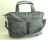 Sale - Water Resistant Nylon Bag in Grey - Messenger, Laptop bag, Tote, Shoulder bag, Women - PAMELA