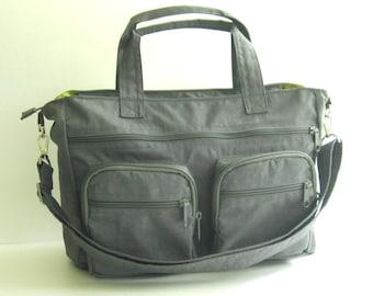 Sale - Water Resistant Nylon Bag in Grey - Messenger, Laptop bag, Diaper bag, Crossbody bag, Tote, Work bag, Shoulder bag, Women - PAMELA