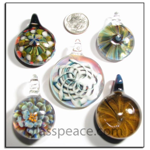 Wholesale Glass Pendants lampwork focals necklace beads - Glass Peace jewelry supplies (5788)