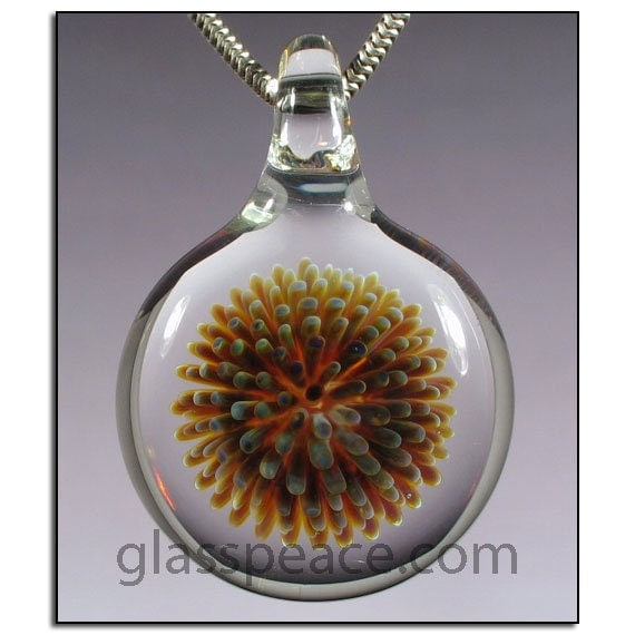 Lampwork Pendant Blown Glass Focal Bead dot implosion necklace - Glass Peace glass jewelry (2447)