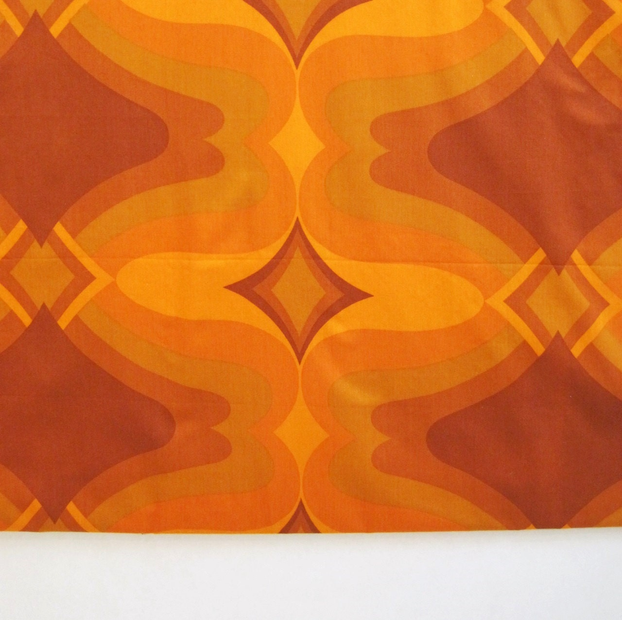 Vintage 70s fabric op art psychedelic orange space age over 3 for Vintage space fabric