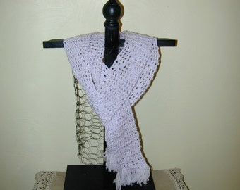 Beautiful  Crochet  Mauve Skinny Scarf 80 inches Long