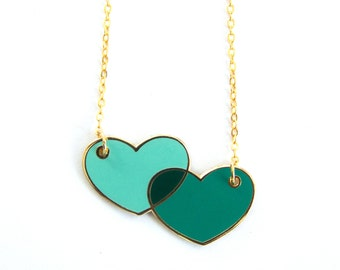 Overlapping Love Hearts Enamel Enamel Geometric Unique Modern Graphic Design Gold Necklace