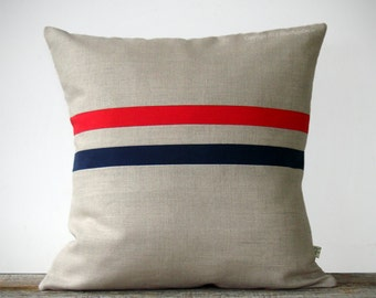 Poppy Red and Navy Striped Pillow (16x16) - Americana - Nautical - Modern Home Decor