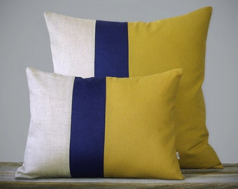 Color Block Pillow Set - Mustard Yellow, Navy and Natural Linen by JillianReneDecor - Colorblock Striped Trio - (1) 12x16 (1) 20x20