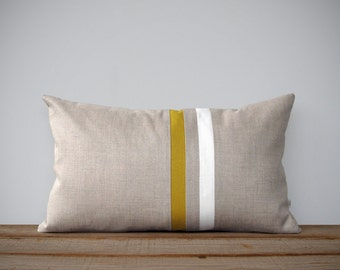 Mustard Yellow and Cream Striped Pillow - 12x20 - Modern Home Decor by JillianReneDecor - Colorblock Stripes - Honey Gold Decorative Pillow