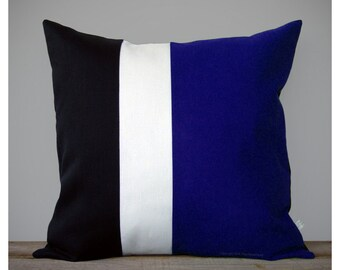 Colorblock Pillow Cover | Cobalt, Cream and Black (20x20) by JillianReneDecor | Modern Home Decor Color Block Striped Trio | Black and White