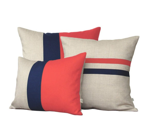 Colorblock Stripe Pillow Set Coral Amp Navy By Jillianrenedecor