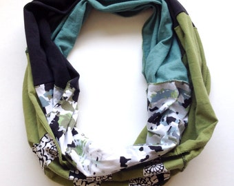 Fabulous Mobius Infinity Eternity Scarf Wrap - Black, aqua, green -made from recycled jersey knit shirts
