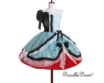 Candy Circus Dress Inspired red and teal Custom In Your Size