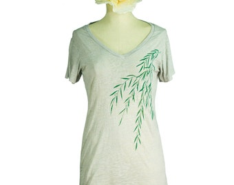 Willow Burnout V Neck T-Shirt, Silver, Screen Printed, Womens, Tunic - Gifts for Her
