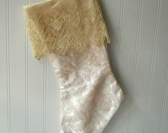 Pale pink Christmas stocking brocade damask satin ornate lace cuff Shabby Romantic Cottage Chic