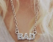 Bad Girl Necklace. Silver Collection, inscription necklace, word, letter, saying, text, by Stjern on Etsy