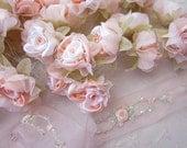 36pc Chic Peach Satin Organza Ribbon Wired Rose Peony Flower Reborn Doll Bridal Wedding Bow Hair Accessory Applique