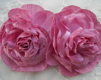 Cabbage Rose Fabric Flower Applique 2pc Rosy Mauve Crinkle Victorian Hat Corsage