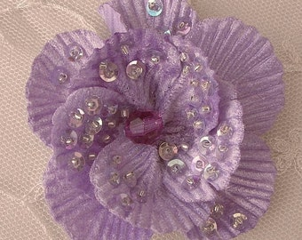 "2.75"" Handmade Velvet Beaded w Sequins Glass Beads LAVENDER Poppy Flower Bridal Corsage"