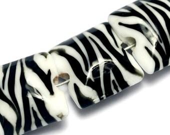 Glass Lampwork Bead Set - Four Zebra Stripes Pillow Beads 10204414