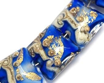 Four Cobalt Treasure Pillow Bead Set - Handmade Lampwork Beads 10410014