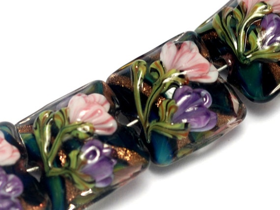 Glass Lampwork Bead Set - Four Pink & Purple Floral Pillow Beads 10407414