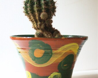 Earthenware Flower Pot OOAK Abstract Decoration Seven Inches in Diameter at the Top Lip